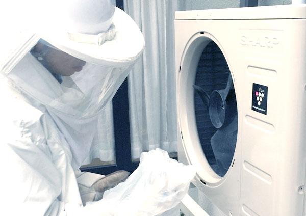 防護服、専用資器材を使用しハチの巣を除去します。